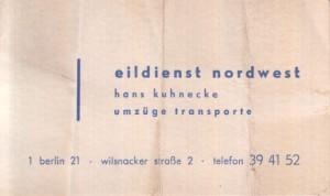 Visitenkarte Eildienst Nordwest Kuhnecke 1964